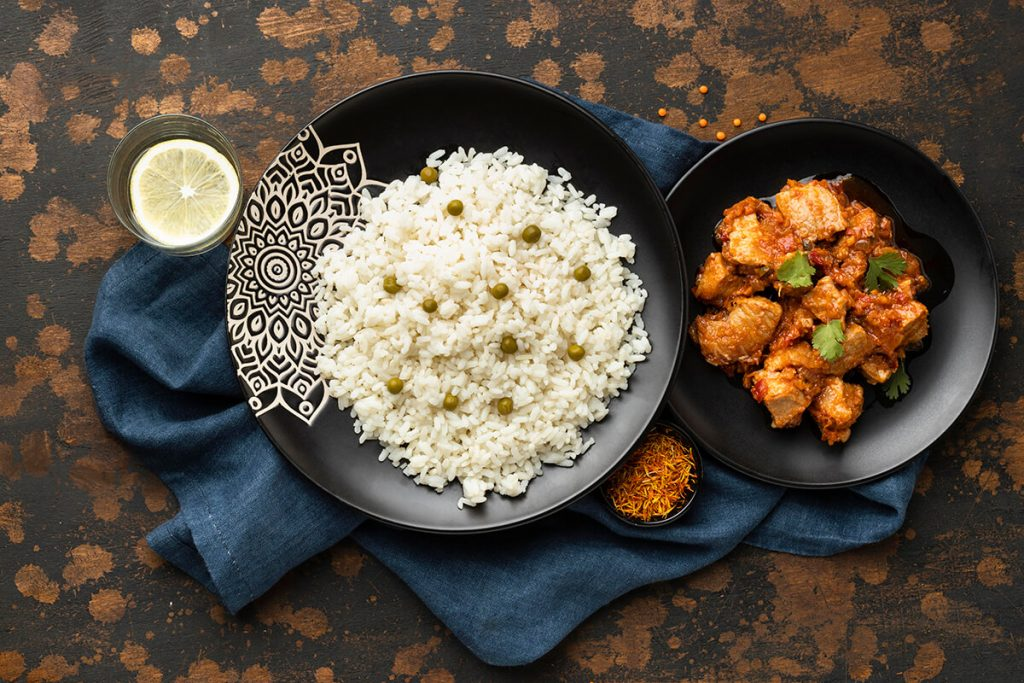 top-view-rice-meat-dishes